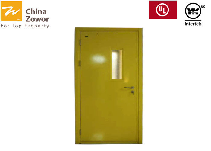 Yellow Powder Coated Gal. Steel 45 mm FD60 Fire Door With 24 mm Anti-fire Glass